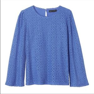 Banana Republic Blue Lace Fluted Sleeve Shirt